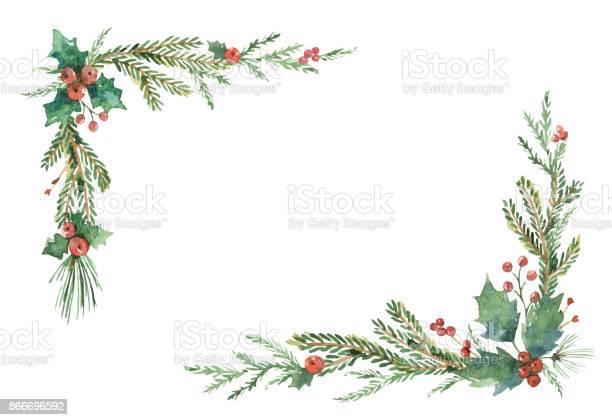 Akvarell Vektor Jul Ram Med Fir Grenar Och Plats För Text-vektorgrafik och fler bilder på Akvarellmålning