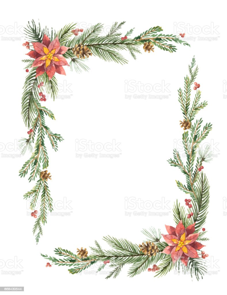 Christmas Frame.Watercolor Vector Christmas Frame With Fir Branches And Place For Text Stock Illustration Download Image Now