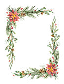 Watercolor vector Christmas frame with fir branches and place for text. Illustration for greeting cards and invitations isolated on white background.