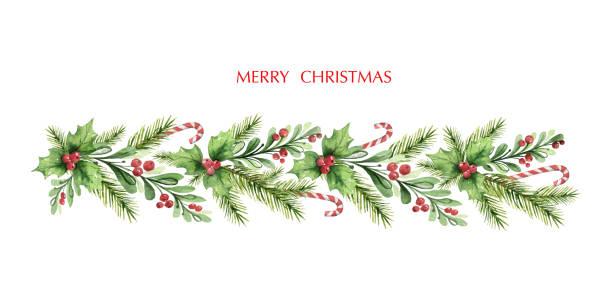 illustrations, cliparts, dessins animés et icônes de guirlande de noel de vecteur d'aquarelle avec des branches de sapin et des baies rouges. - guirlande
