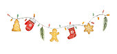 Watercolor vector Christmas garland with lights and gifts. Illustration for greeting cards and invitations isolated on white background.
