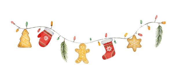 bildbanksillustrationer, clip art samt tecknat material och ikoner med akvarell vektor christmas garland med ljus och gåvor. - pepparkaka