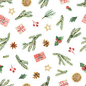 Watercolor vector Christmas seamless pattern with fir branches, gifts and cones. Illustration for greeting cards and invitations isolated on white background.