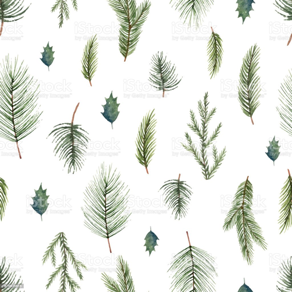 Watercolor Vector Christmas Seamless Pattern With Fir Branches Stock Illustration Download Image Now Istock