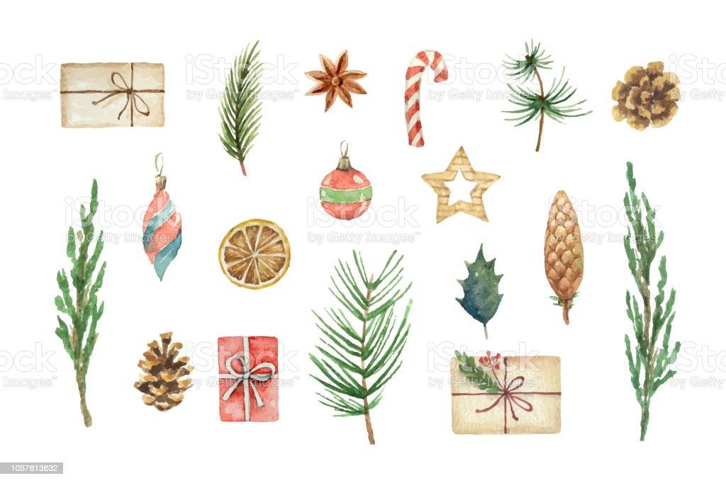 Vector aquarelle Noël sertie de cadeaux, des ballons et des branches de sapin. vector aquarelle noël sertie de cadeaux des ballons et des branches de sapin vecteurs libres de droits et plus d'images vectorielles de affiche libre de droits