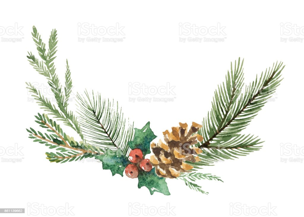 Watercolor vector Christmas wreath with fir branches and place for text. vector art illustration