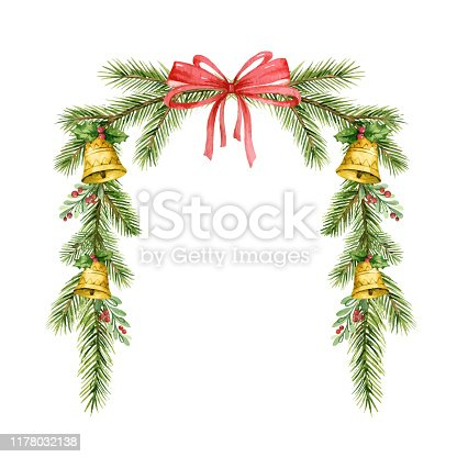 istock Watercolor vector Christmas wreath with fir branches, bells and red bow. 1178032138