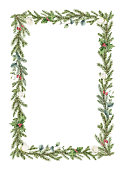 istock Watercolor vector Christmas wreath with fir branches, white rose and eucalyptus. Hand painted illustration for greeting floral postcard and invitations isolated on white background. 1278618633