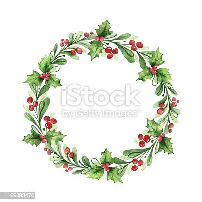 Watercolor vector Christmas wreath with green branches and red berries. Illustration for greeting floral postcard and invitations isolated on white background.
