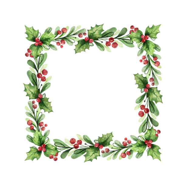 Watercolor vector Christmas wreath with green branches and red berries. Watercolor vector Christmas wreath with green branches and red berries. Illustration for greeting floral postcard and invitations isolated on white background. berry fruit stock illustrations