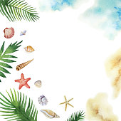 Watercolor vector colorful seashells and tropical leaves isolated on a white background. Summer illustration for travel magazines and greeting cards.