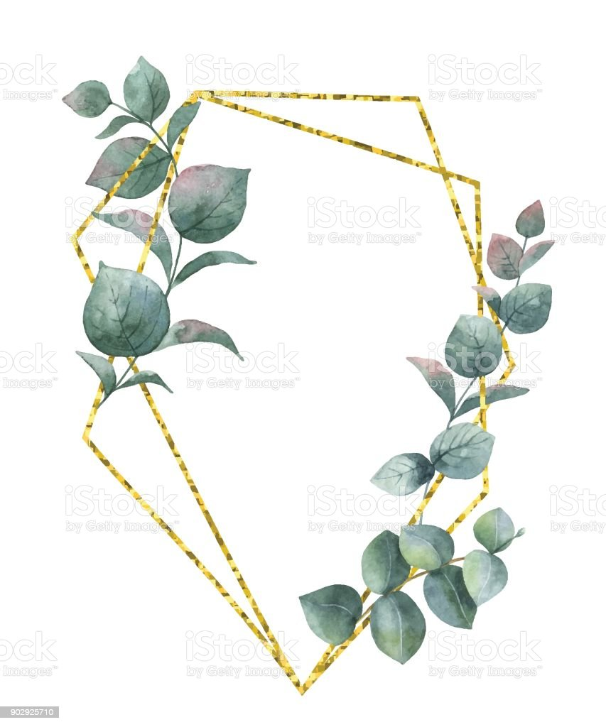 Watercolor vector composition from the branches of eucalyptus and gold geometric frame. vector art illustration