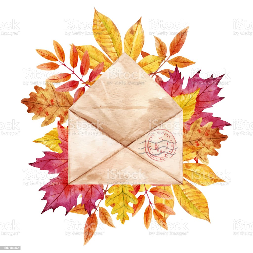 Watercolor vector envelop with leaves vector art illustration