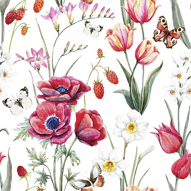 Watercolor vector floral pattern vector art illustration