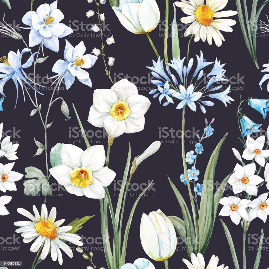 Watercolor vector floral pattern vector art illustration