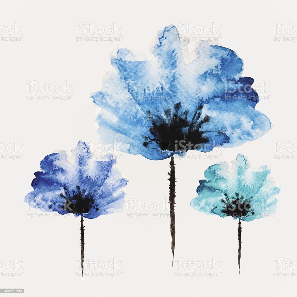 Watercolor vector flower royalty-free stock vector art
