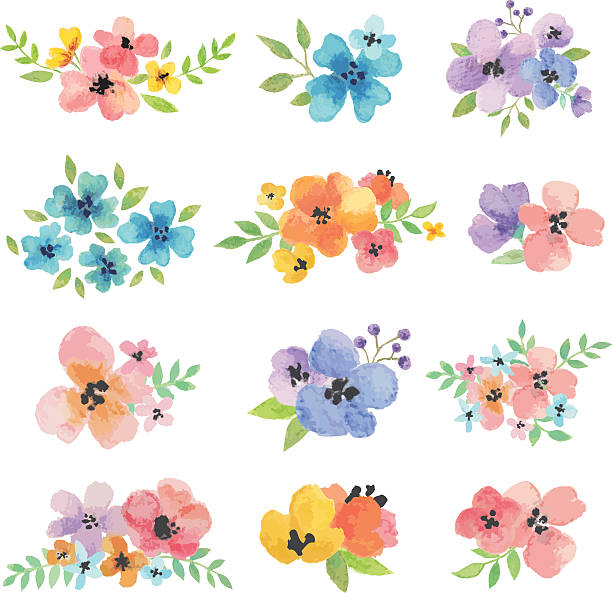 Watercolor Vector Flowers Vector illustration of watercolor flowers. single flower stock illustrations
