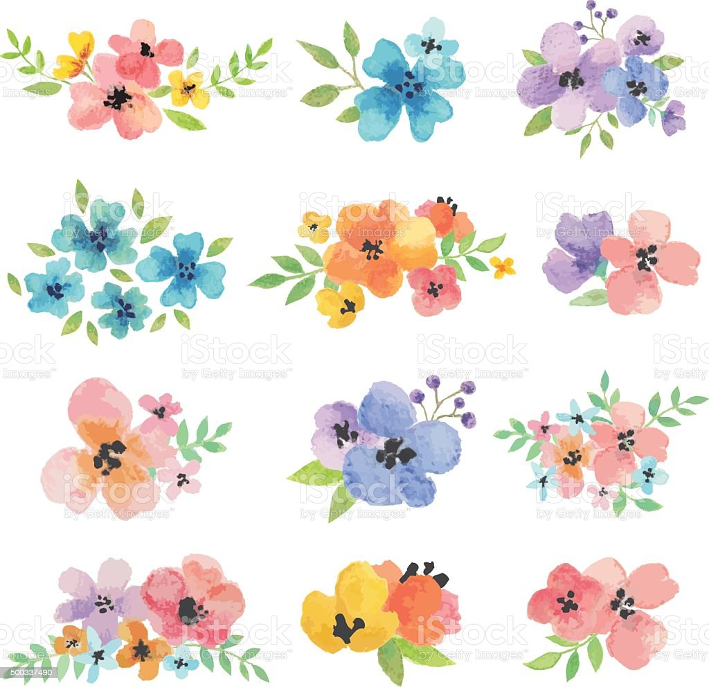 Watercolor Vector Flowers vector art illustration