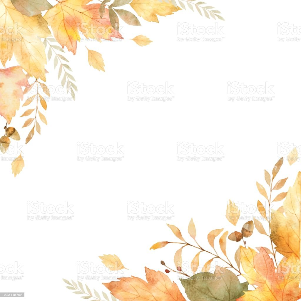 Watercolor vector frame of leaves and branches isolated on white background. - illustrazione arte vettoriale