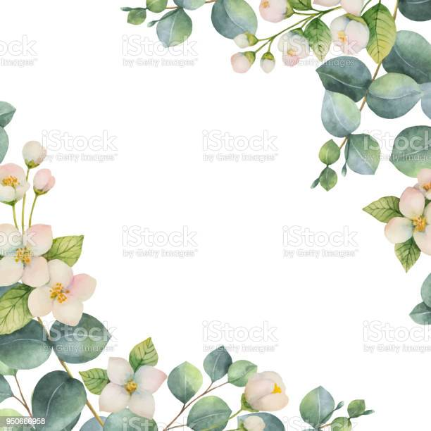 Watercolor vector green floral card with eucalyptus leaves jasmine vector id950666958?b=1&k=6&m=950666958&s=612x612&h=qr3bk3sdayjd02oa4feu y9mnkfs2zzycgzpwur 0ba=