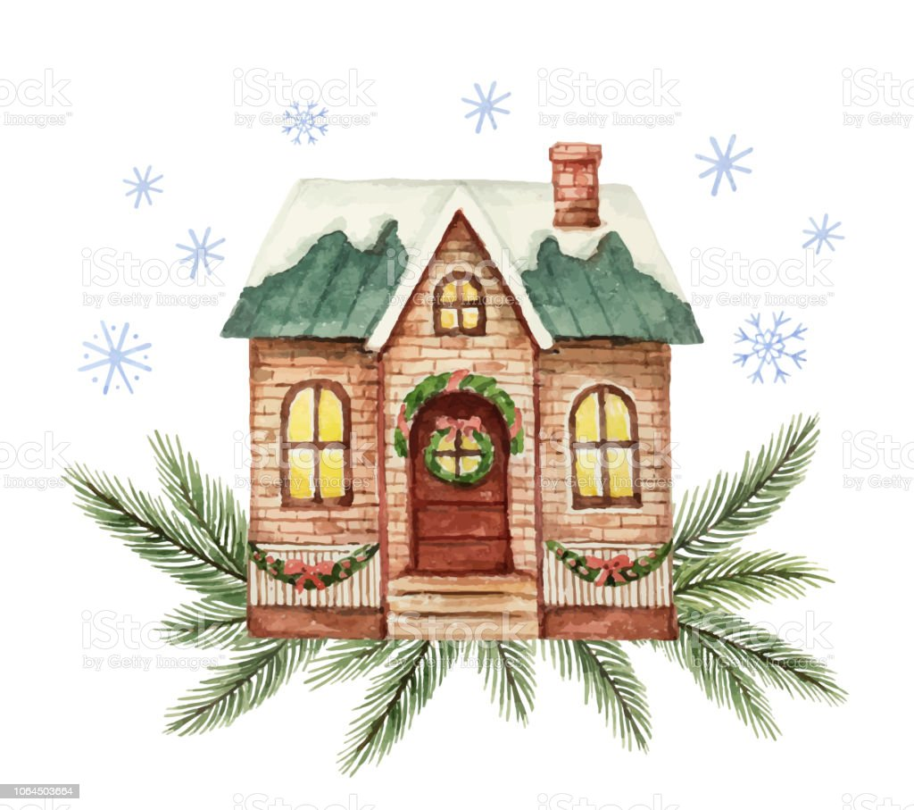 Christmas House Drawing.Watercolor Vector Greeting Card With Christmas House And