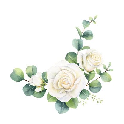 Watercolor vector hand painted bouquet with green eucalyptus leaves and white roses. Illustration for cards, wedding invitation, posters, save the date or greeting design isolated on white background.