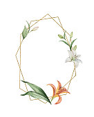 Watercolor vector hand painted wreath of flowers, green leaves and gold geometric frame. Illustration for wedding invitation, save the date or greeting design.