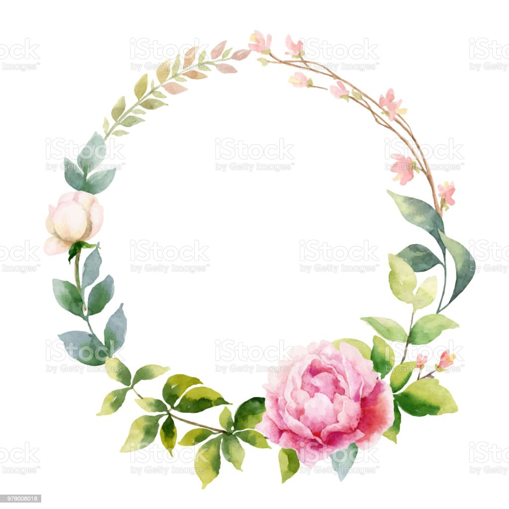 Suluboya Vektör El Boyama çelenk şakayık çiçekleri Ve Yeşil