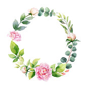 Watercolor vector hand painting wreath of peony flowers and green leaves. Spring or summer flowers for invitation, wedding or greeting cards.
