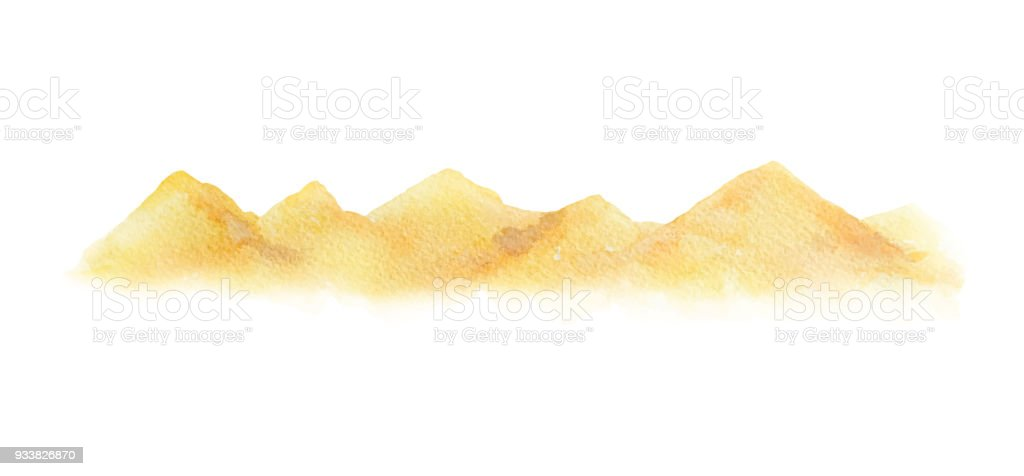 Watercolor vector horizontal background of a landscape with a desert. vector art illustration