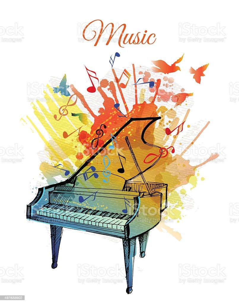 Watercolor Vector Illustration Of Piano Gm497833902 79344429