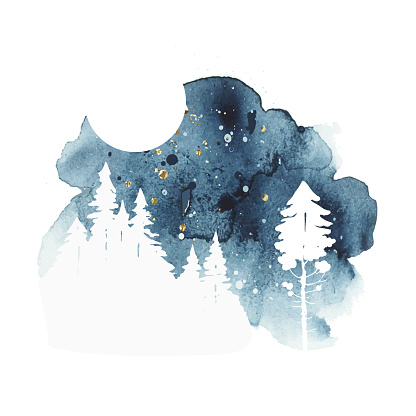 Watercolor vector landscape. Watercolor print with isolated coniferous trees and moon in blue and golden colors. Night sky. Abstract watercolor vector splash