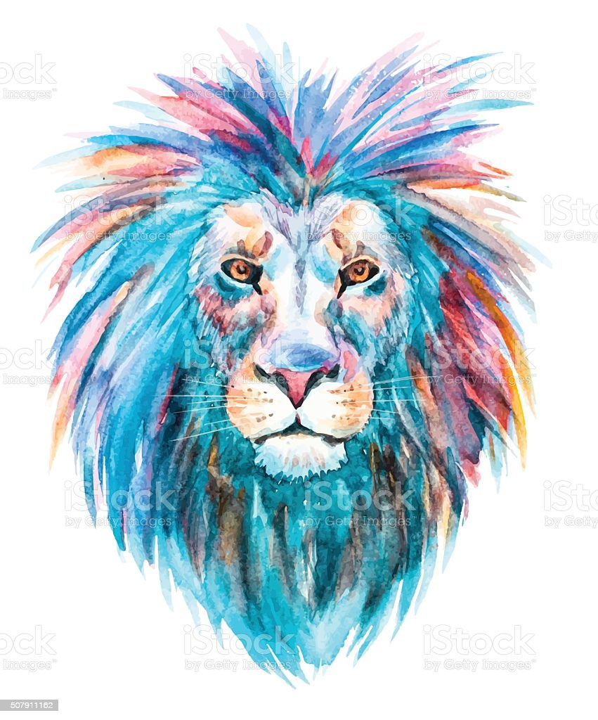 Watercolor vector lion vector art illustration