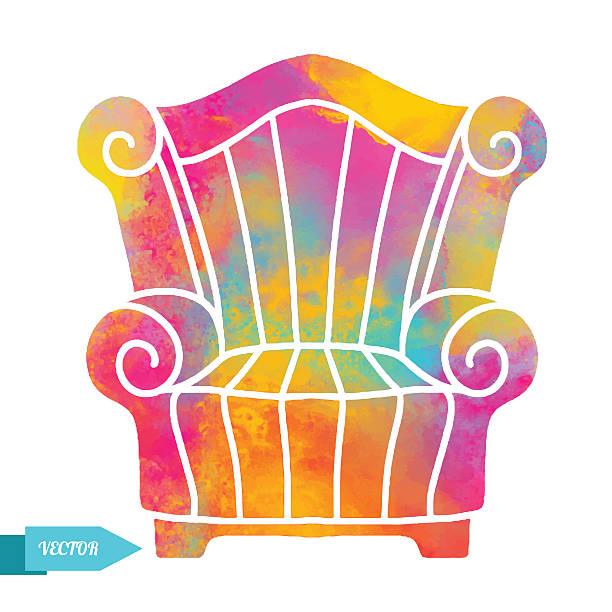 aquarell vektor-moderne einrichtung, sessel - stuhllehnen stock-grafiken, -clipart, -cartoons und -symbole