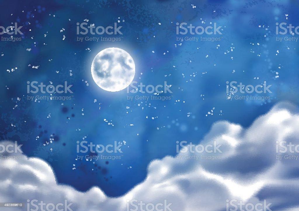 Watercolor Vector Nightly Clouds vector art illustration
