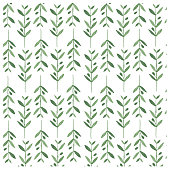 Watercolor vector pattern with olive branches.