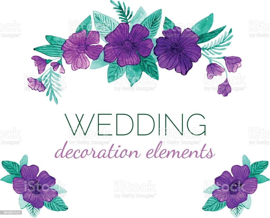Watercolor vector purple flowers decor elements for wedding design watercolor vector purple flowers decor elements for wedding design royalty free watercolor vector purple flowers junglespirit Image collections