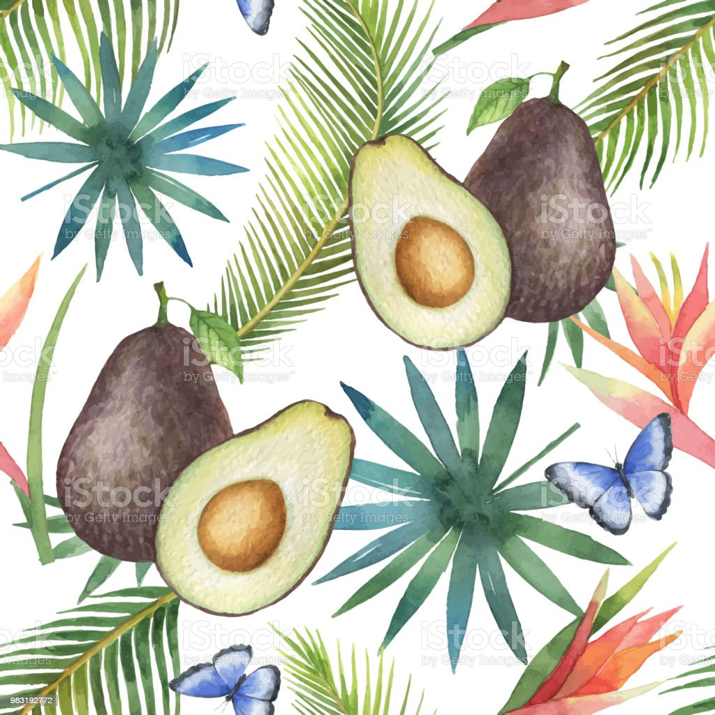 Watercolor vector seamless pattern of avocado and palm trees isolated on white background. vector art illustration