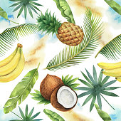 Watercolor vector seamless pattern of coconut, banana, pineapple and palm trees isolated on white background. Hand painted illustration for design kitchen, bio food, menu, healthy eating, textiles, market.
