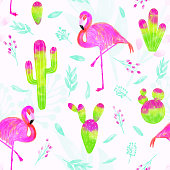 Watercolor vector seamless pattern of pink flamingo and cacti with bright pink and green colors isolated on white background. Tropical background, summer concept.