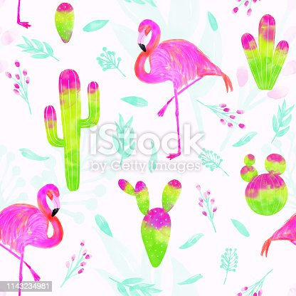 istock Watercolor vector seamless pattern of pink flamingo and cacti with bright pink and green colors isolated on white background. Tropical background, summer concept. 1143234981