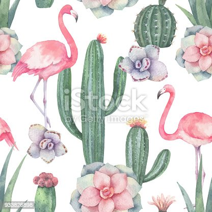 72ef7463a ᐈ Imagen de Acuarela color rosa flamingo y tropical flores de ...