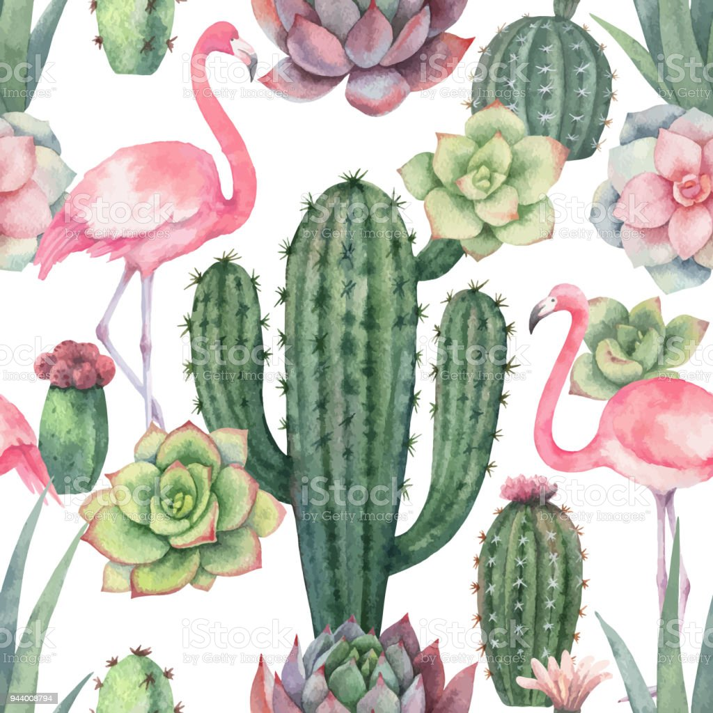 Watercolor Vector Seamless Pattern Of Pink Flamingo Cacti And