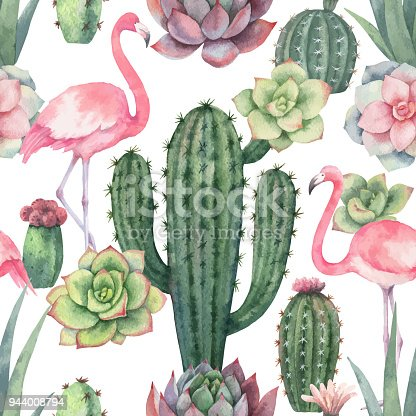 istock Watercolor vector seamless pattern of pink flamingo, cacti and succulent plants isolated on white background. 944008794