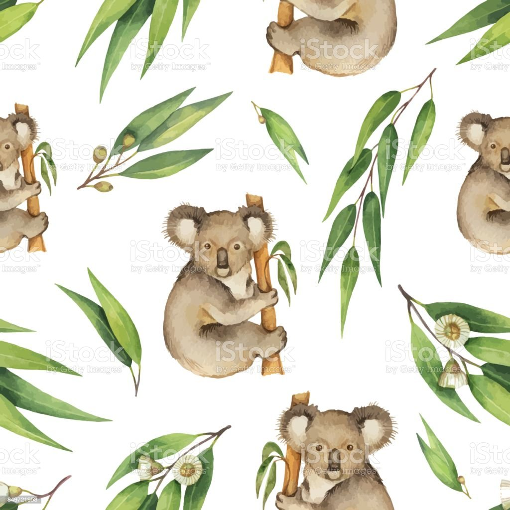 Watercolor vector seamless pattern with eucalyptus leaves and Koala isolated on white background. vector art illustration