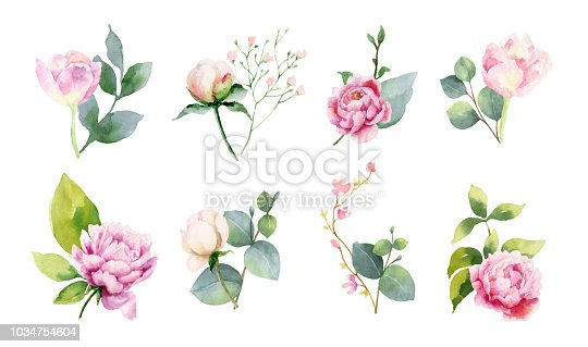 istock Watercolor vector set of bouquets of green branches and flowersset of bouquets of green branches and flowers. 1034754604