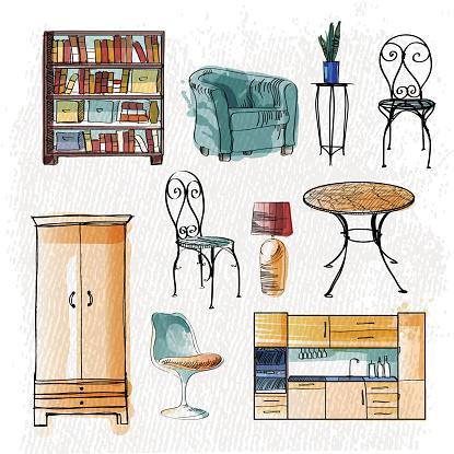 watercolor vector set of furniture