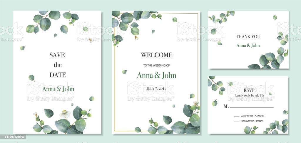 Acuarela vector set diseño de plantilla de tarjeta de invitación de boda con hojas de eucalipto verdes. ilustración de acuarela vector set diseño de plantilla de tarjeta de invitación de boda con hojas de eucalipto verdes y más vectores libres de derechos de boda libre de derechos