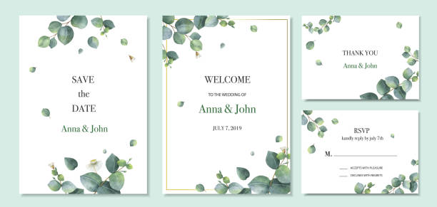 Watercolor vector set wedding invitation card template design with green eucalyptus leaves. Watercolor vector set wedding invitation card template design with green eucalyptus leaves. Illustration for cards, save the date, greeting design, floral invite. lush foliage stock illustrations