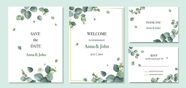 水彩向量設置婚禮邀請卡範本設計與綠色桉樹葉向量圖形及更多全景圖片